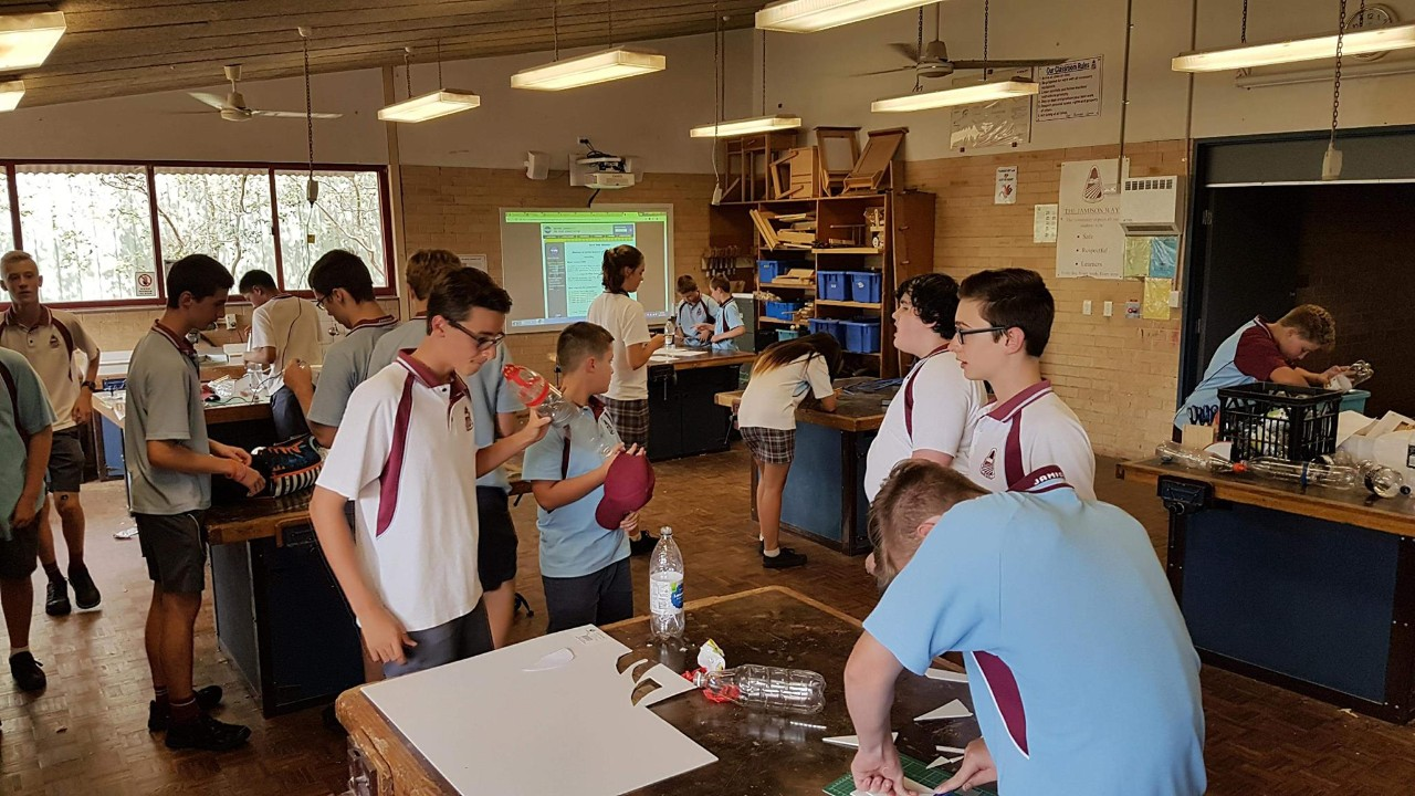 Students in Industrial Arts workshop