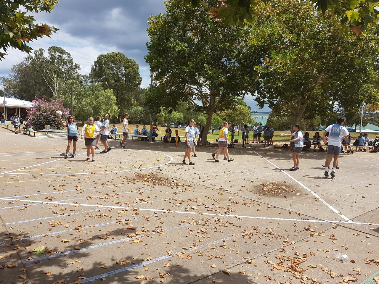 Students playing PBL sport in the school quad