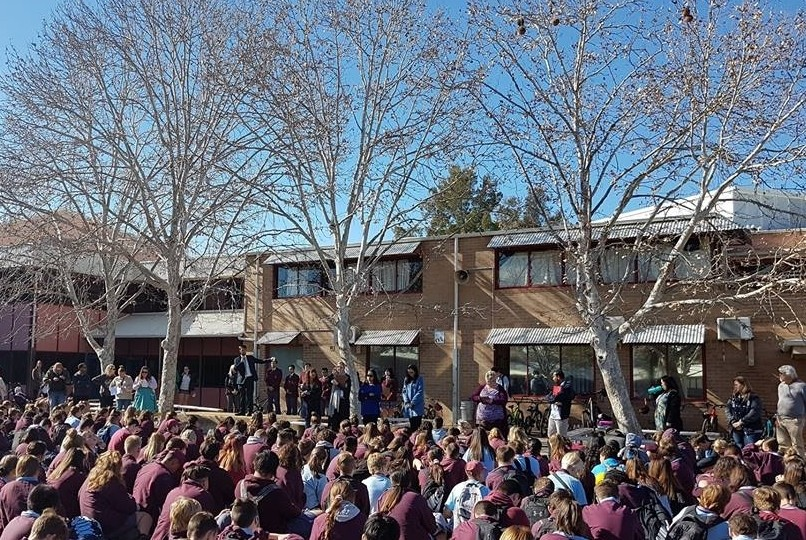Our students and teachers gathered outside for the morning UConnect assembly