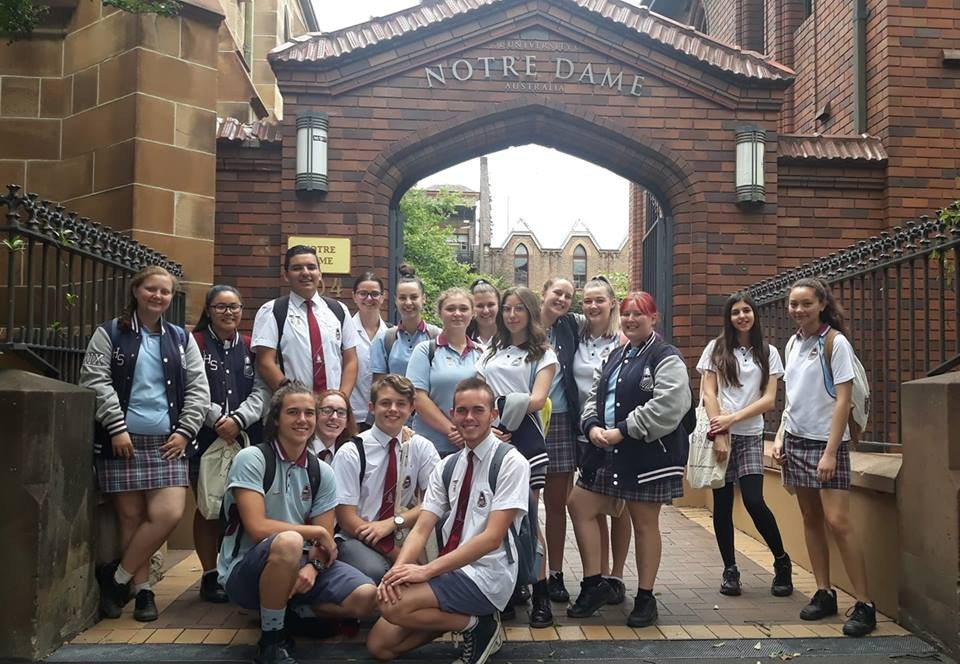 Senior students attending and excursion to Notre Dame