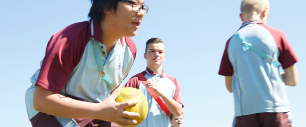 Students playing school sport
